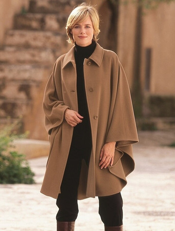 Cashmere Wool Cape With Saddle Stitching - Camel