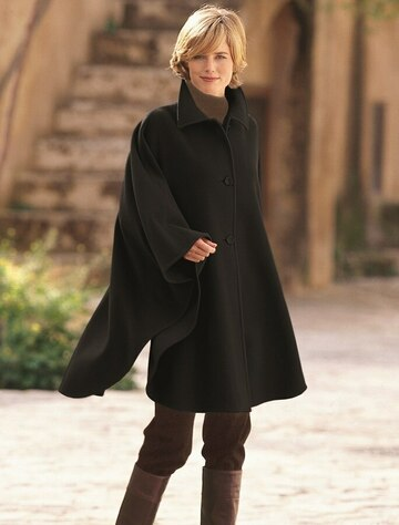 Cashmere Wool Cape With Saddle Stitching - Black