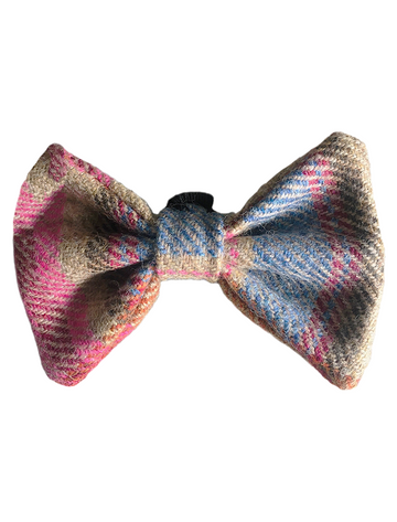 Tweed Wool Dog Dicky Bow - Pink & Blue Plaid