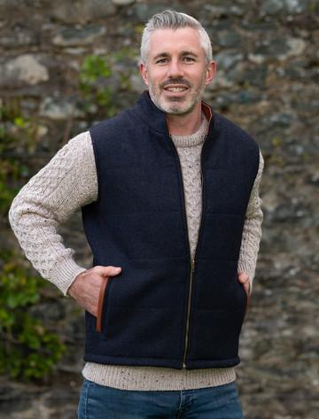 Men's Tweed Body Warmer - Navy