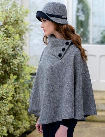 Mucros Tweed Poncho -Grey Herringbone