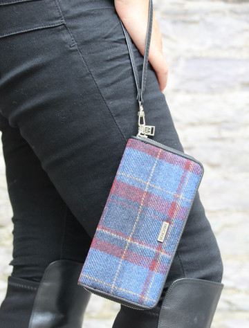 Mucros Tweed Purse - Navy & Red Plaid