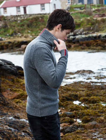 Lambswool Polo Neck Sweater - Grey With Stripe