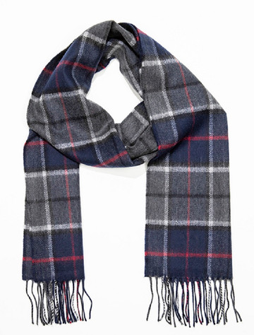 Fine Merino Scarf - Navy & Grey Plaid