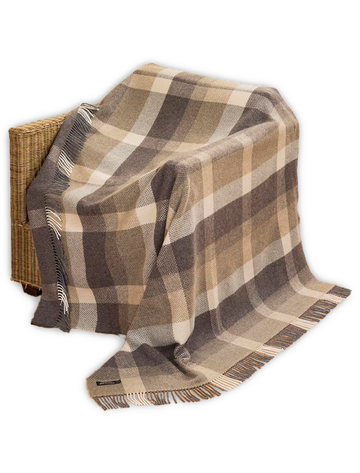 Luxury Cashmere Wool Throw - Beige & Cream Check