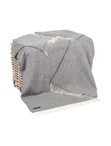 Luxury Cashmere Wool Throw - Grey Herringbone