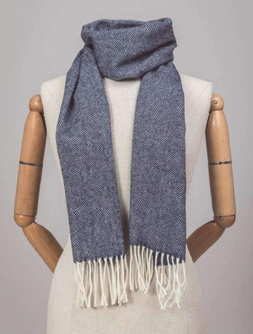 Lambswool Scarf - Navy & Cream Herringbone