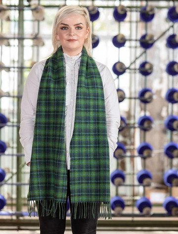 Lambswool Scarf - Green & Navy Plaid
