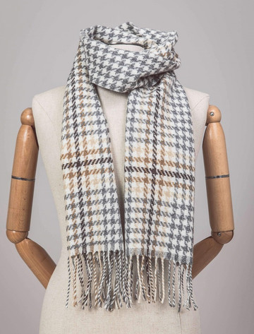 Lambswool Scarf - Brown & Gold Houndstooth