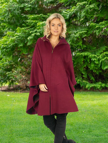 Luxurious Irish Tweed Walking Cape - Claret