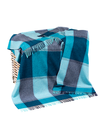 Lambswool Throw - Navy & Teal Check