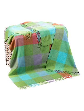 Lambswool Throw - Green, Aqua & Lilac Check