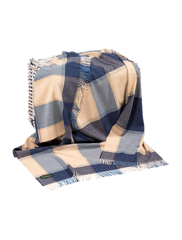 Lambswool Throw - Beige & Navy Block
