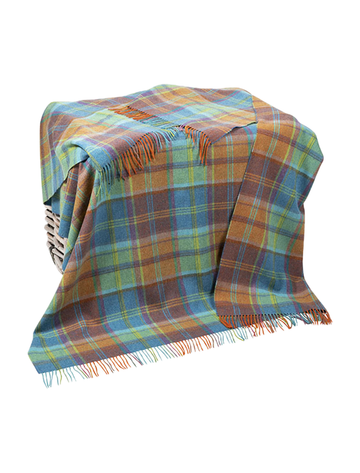 Lambswool Throw - Blue, Green & Orange Plaid