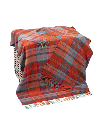 Lambswool Throw - Rust Orange & Blue Plaid