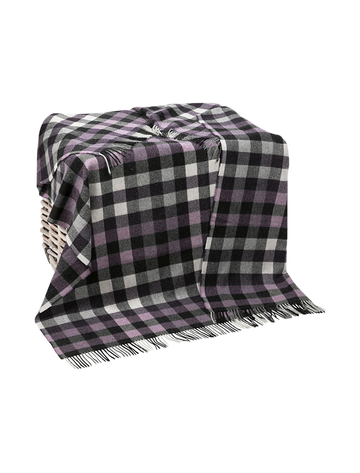Lambswool Throw - Grey & Mulberry Box Plaid