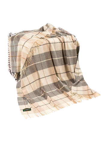 Lambswool Throw - Cream & Grey Plaid