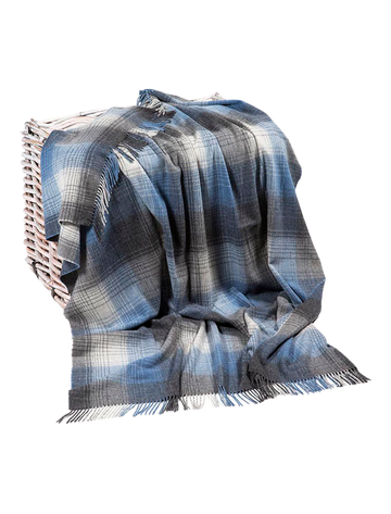 Lambswool Throw - Grey & Denim Plaid