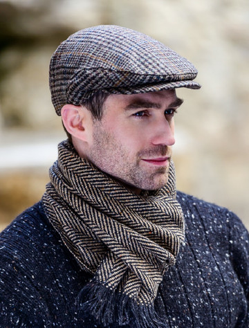Trinity Tweed Flat Cap - Brown & Rust Plaid