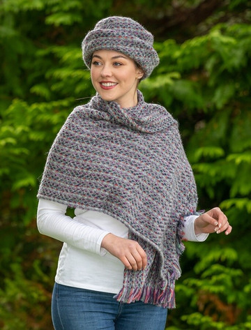 Wool Country Stole - Connemara Light Grey