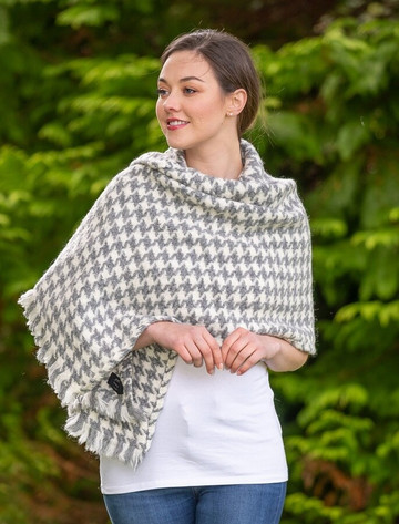 Wool Country Stole - Grey & Cream