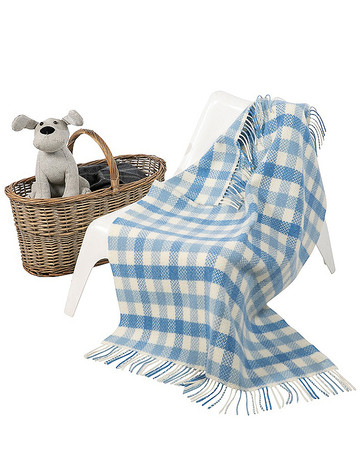 Wool Cashmere Baby Throw - Blue Block Check