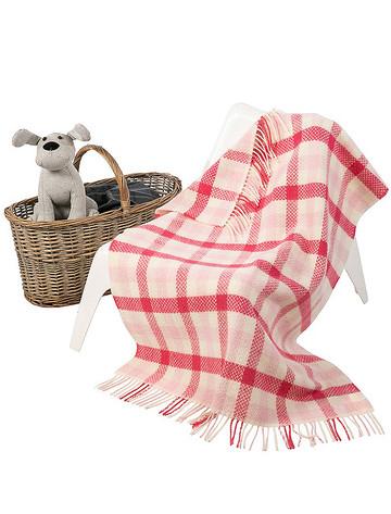 Wool Cashmere Baby Throw - Pink Block