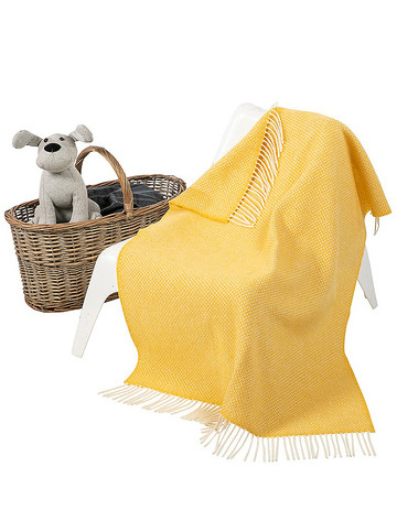 Wool Cashmere Baby Throw - Yellow Herringbone
