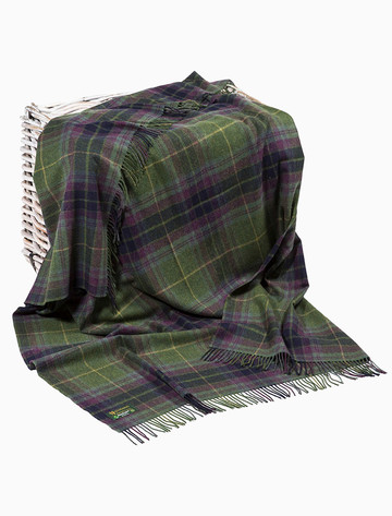Lambswool Plaid Throw - Green Navy Wine