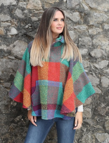 Kildare Herringbone Hooded Poncho - Multi-Light-Green