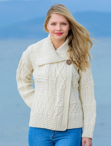Patchwork Cardigan with Collar - White