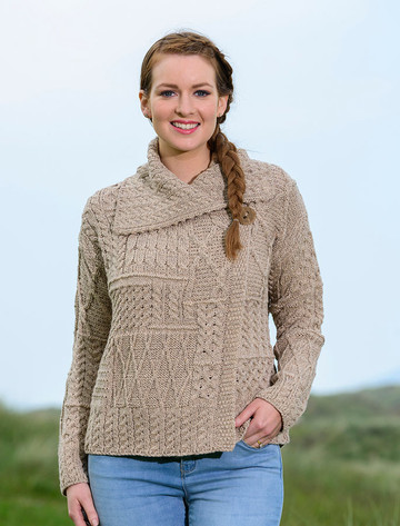 Patchwork Cardigan with Collar - Wicker