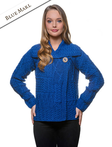 Patchwork Cardigan with Collar - Blue Marl