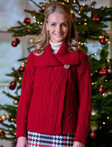 Patchwork Cardigan with Collar - Chillipepper (CatImage_/christmas-for-her) (CatImage_/aran-christmas-store)