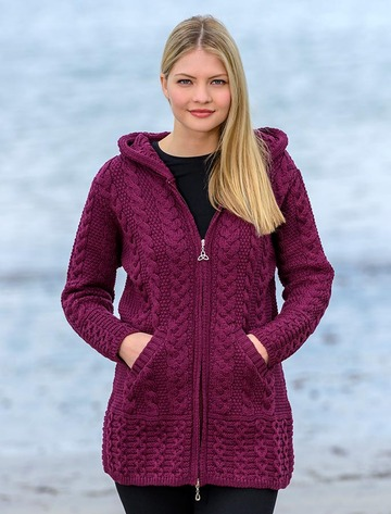 Hooded Coatigan with Celtic Knot Zipper Pull - Wine