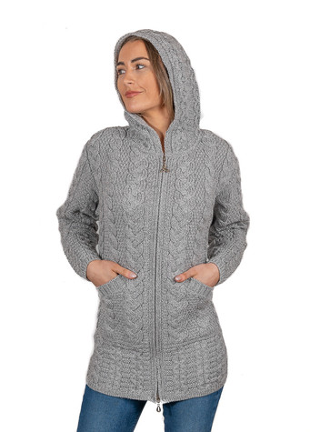 Hooded Coatigan with Celtic Knot Zipper Pull - Soft Grey