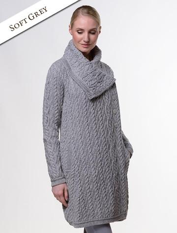 Large Collar Aran Coat - Soft Grey