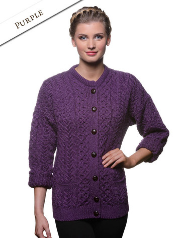 Merino Wool Aran Lumber Jacket - Purple