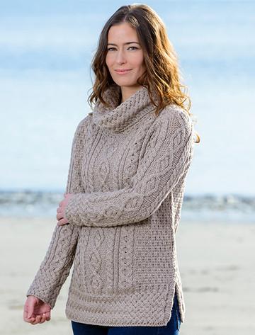 Aran Cowl Neck Tunic Sweater - Wicker