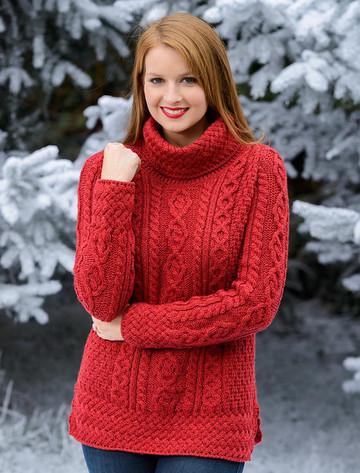 Aran Cowl Neck Tunic Sweater - Chillipepper (CatImage_/christmas-for-her) (CatImage_/aran-christmas-store)