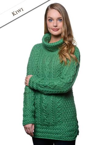Aran Cowl Neck Tunic Sweater - Kiwi