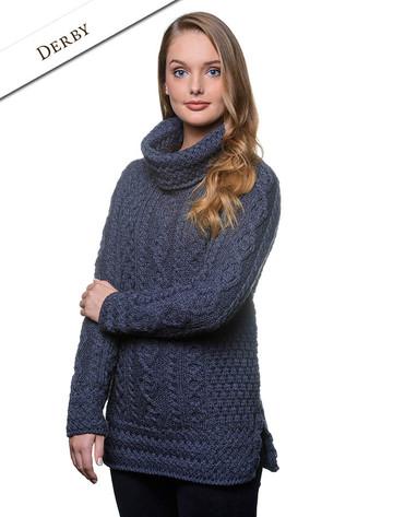 Aran Cowl Neck Tunic Sweater - Derby
