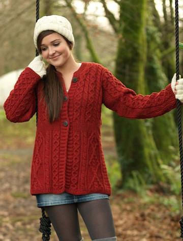 Women's Merino Wool A-Line Fit Cardigan - Chillipepper