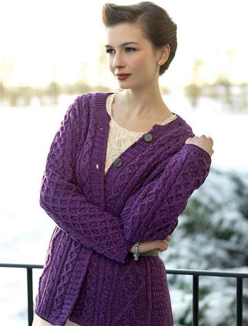 Women's Merino Wool A-Line Fit Cardigan - Purple