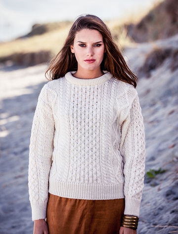 Cable Knit Crew Neck Aran Wool Sweater - Natural White
