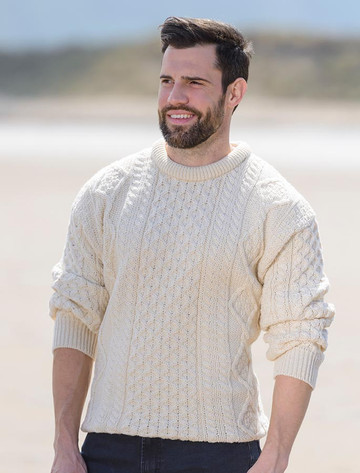 Men's Cable Knit Crew Neck Aran Wool Sweater - White