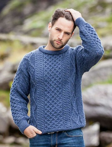 Men's Cable Knit Crew Neck Aran Wool Sweater - Caspian