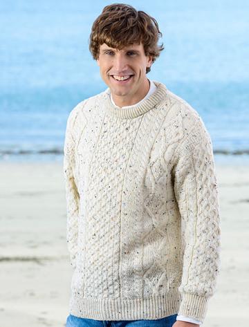 Men's Cable Knit Crew Neck Aran Wool Sweater - White Fleck