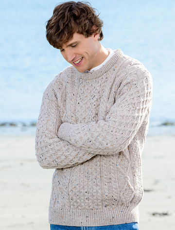 Men's Cable Knit Crew Neck Aran Wool Sweater - Skiddaw
