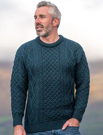 Men's Cable Knit Crew Neck Aran Wool Sweater - Blackwatch